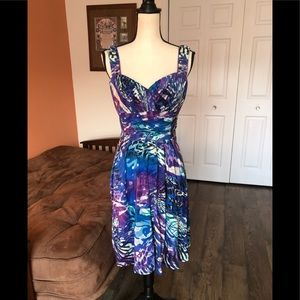 DONNA RICCO blue and purple patterned sundress